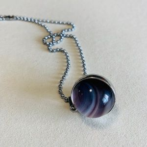 Jewelry - Glass Crystal Ball Saturn Pendant Necklace